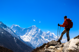 Traveler enjoying panorama view of Khumbu Region