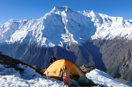 Camping at Pisang peak base camp.