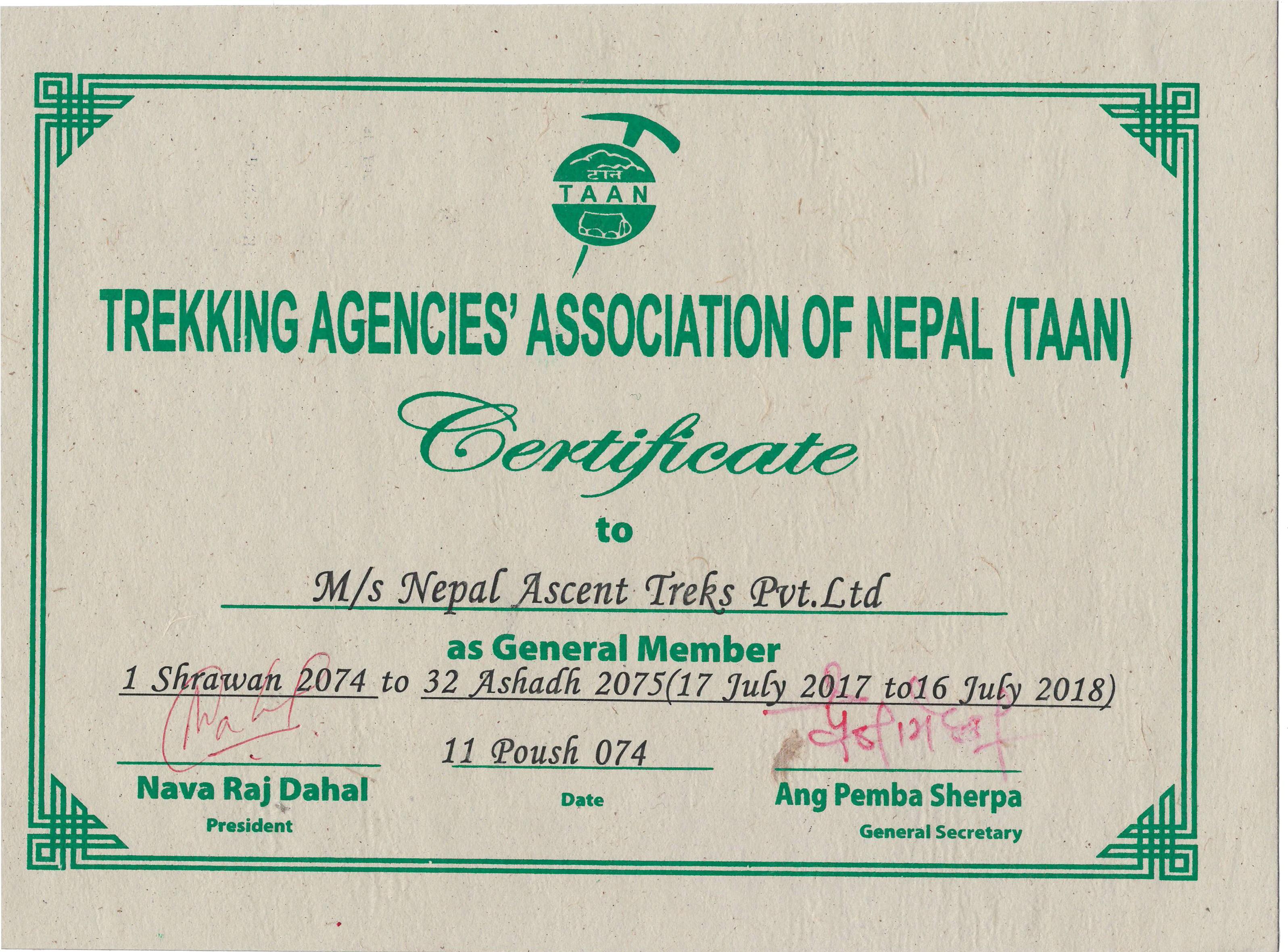 TAAN Certificate